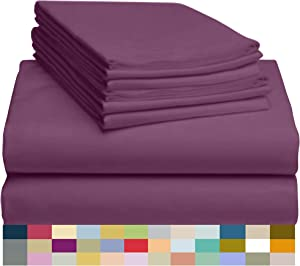 """LuxClub 6 PC Sheet Set Bamboo Sheets Deep Pockets 18"""" Eco Friendly Wrinkle Free Sheets Hypoallergenic Anti-Bacteria Machine Washable Hotel Bedding Silky Soft - Eggplant King"""