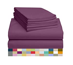 "LuxClub 6 PC Sheet Set Bamboo Sheets Deep Pockets 18"" Eco Friendly Wrinkle Free Sheets Hypoallergenic Anti-Bacteria Machine Washable Hotel Bedding Silky Soft - Eggplant Queen"