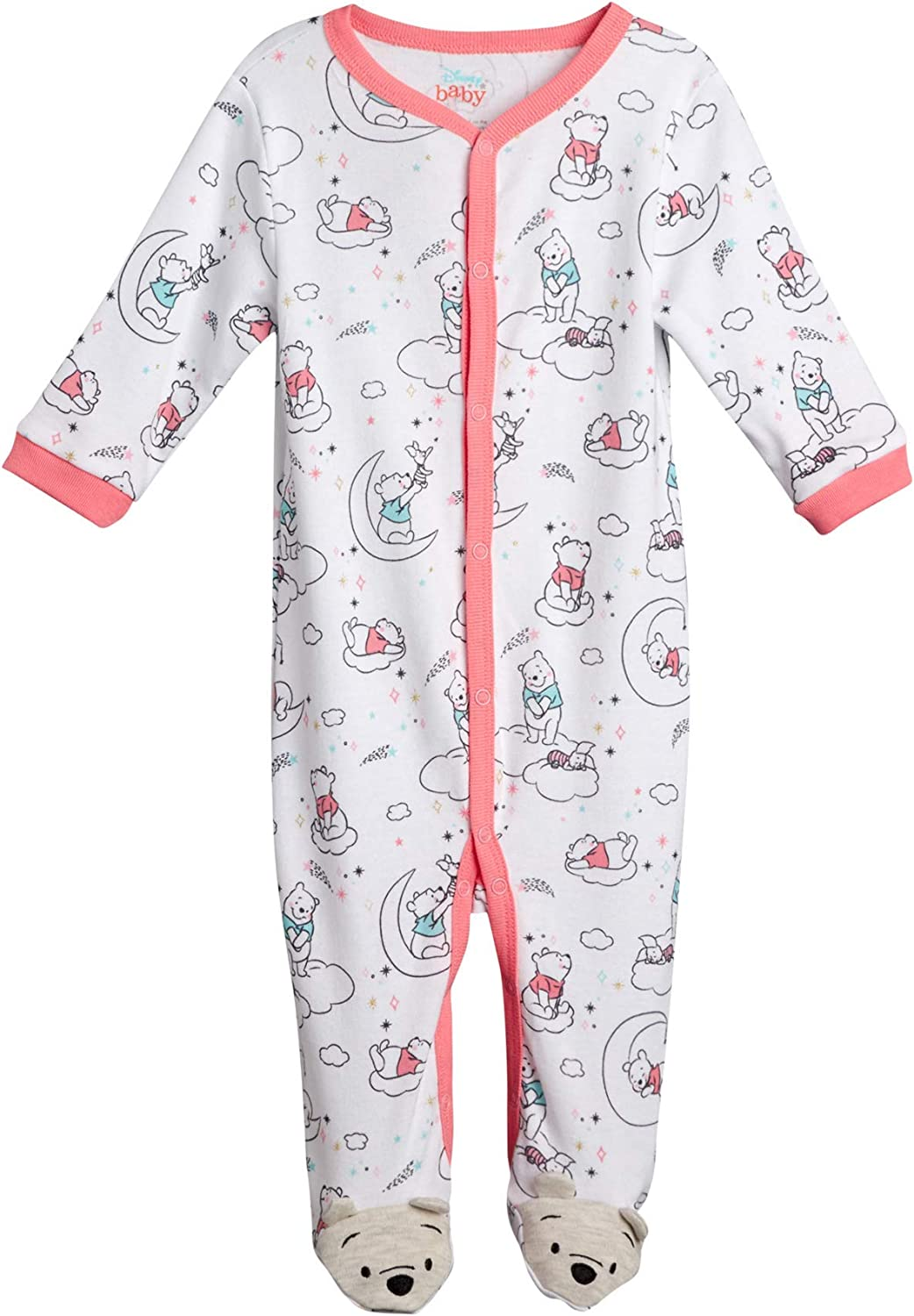 Disney Baby Girls Newborn Cotton Footed Sleep and Play - Minnie Mouse, Winnie The Pooh, and Princess Aurora