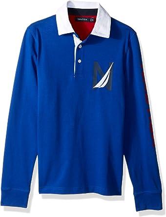 Nautica Men's Big and Tall Heritage Logo Long Sleeve Polo Shirt