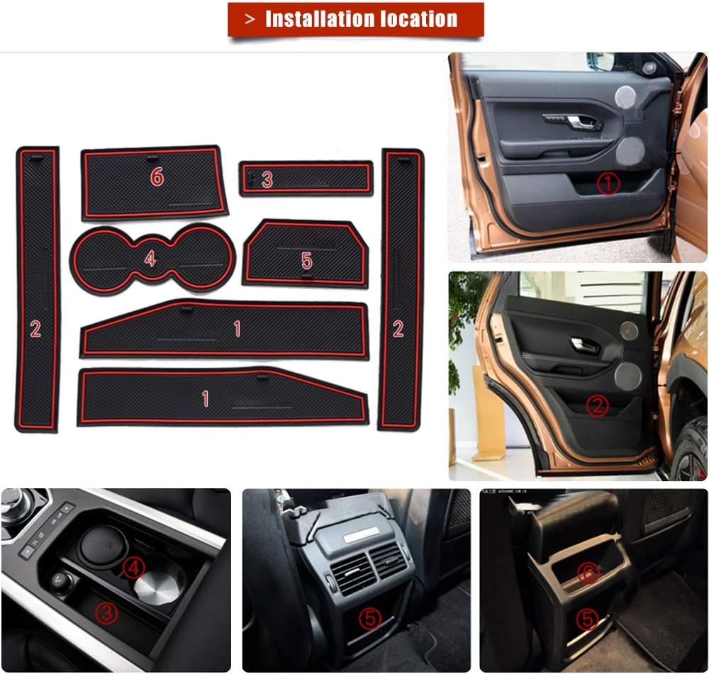 8pcs MyGone Custom Fit Cup Holder and Door Liner Accessories fits for Range Rover Evoque 2012 2013 2014 2015
