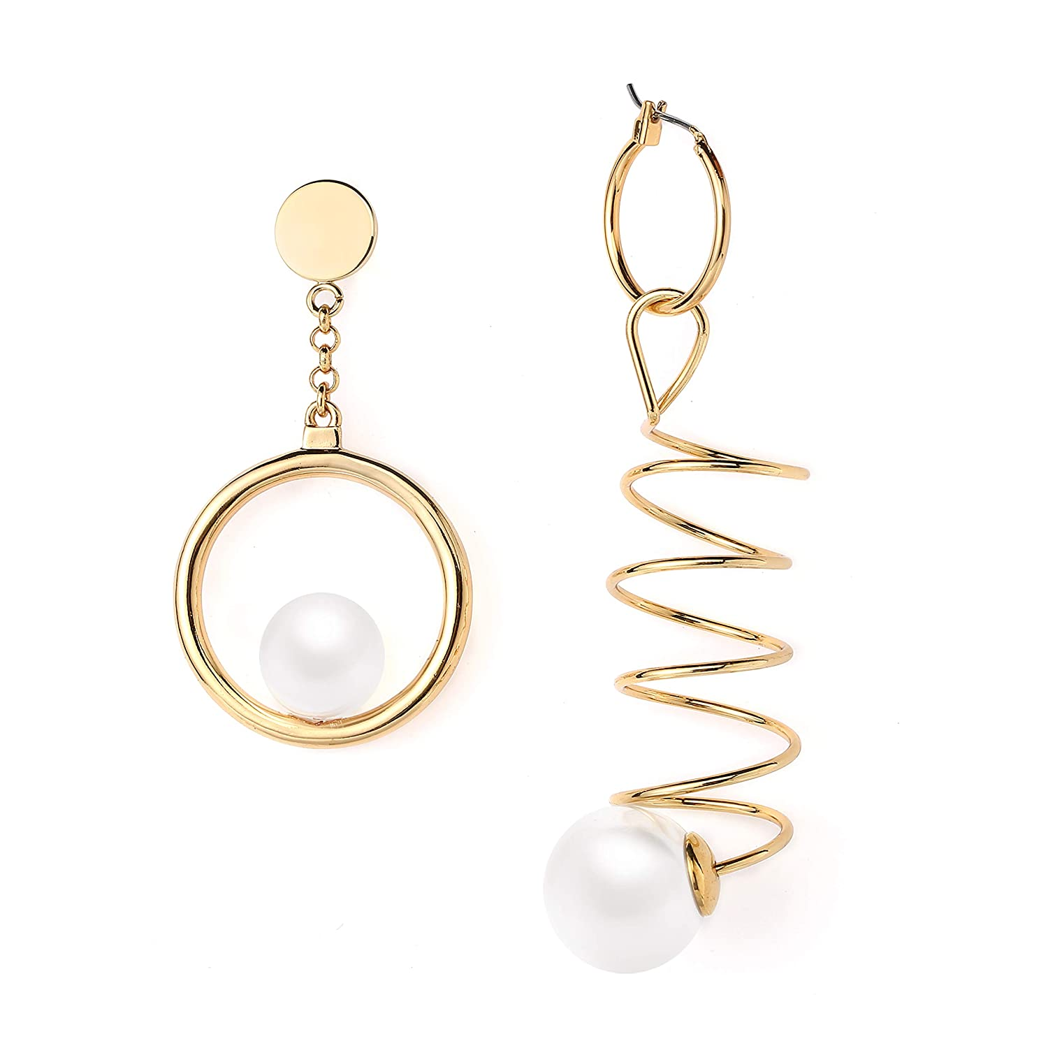 AiryAi Asymmetric Dangle Earrings Pearl on Big Ring Exaggerate Spiraling Spring Ends Pearl 20K Gold Plated Over Metal Fashion-catching 2018 Autumn Winter Style Women /& Girls