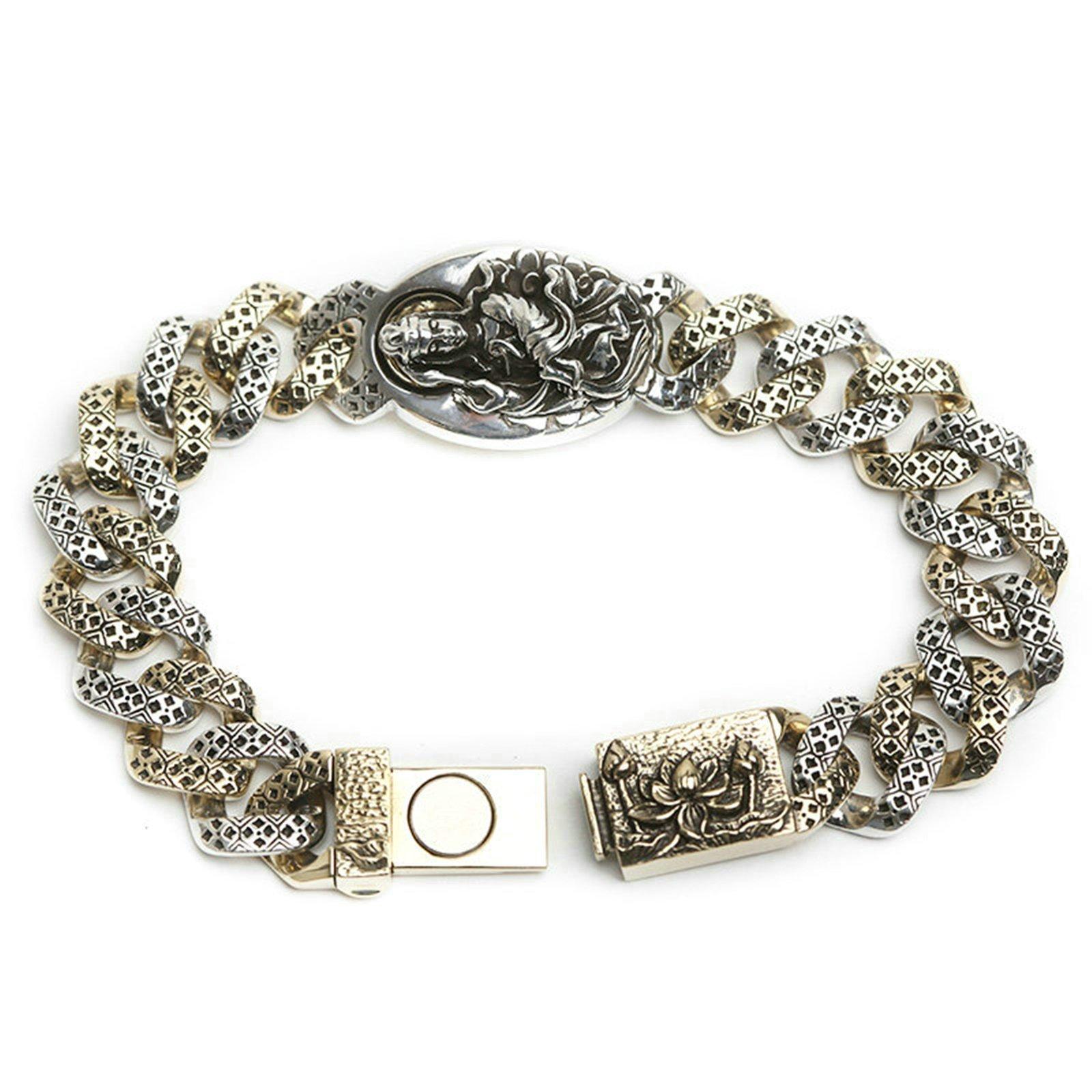 Daesar 925 Silver Bracelet For Women Guanyin Lotus Bracelet Silver Chain Length:21CM by Daesar