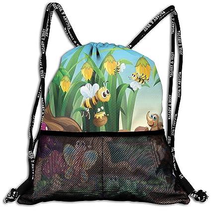 RAINNY Drawstring Backpacks Bags,Ladybug Butterfly Bee In Exotic Garden Botany Cute Kids Nursery Themed