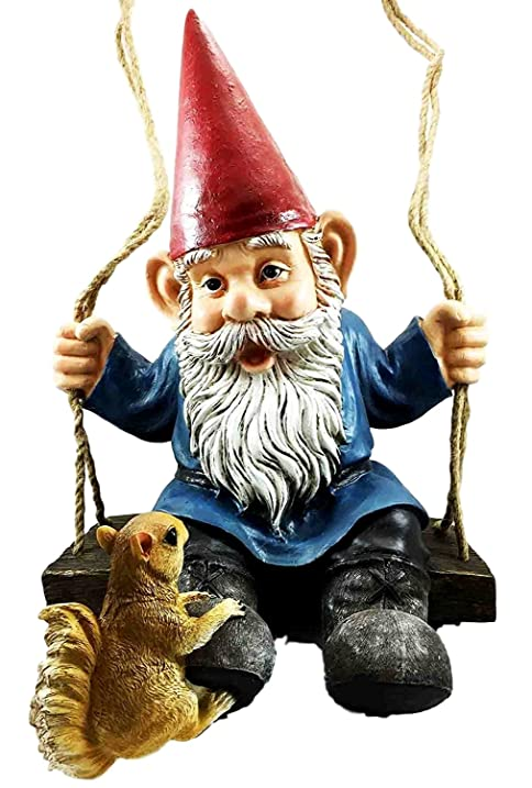 Whimsical Rope Swinging Gnome With Squirrel Outdoor Garden Statue  20.5u0026quot;Tall Tree Decor Sculpture Figurine