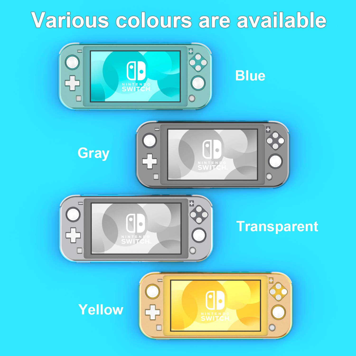 YCCSKY Case Cover for Nintendo Switch Lite 2019, Compact Ultra-Thin All-Round Crystal Protective Cover Case for Switch Lite (Clear Turquoise)