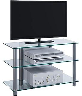 Elbe NEO-370-C-SLV - Mueble soporte para TV horizontal, 70 x 53 x 40 cm, color cristal y plata: Amazon.es: Electrónica