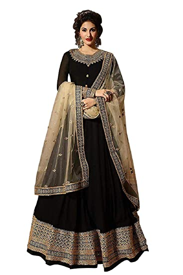 032d213158 Viha Heavy Georgette Women Embroidered Semi-stitched Anarkali Salwar Suit  In Black Colour: Amazon.in: Clothing & Accessories