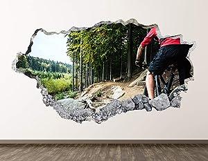 Bike Wall Decal Art Decor 3D Smashed Kids Mountain Bike Riding Sports Sticker Mural Home Gift BL12 (22