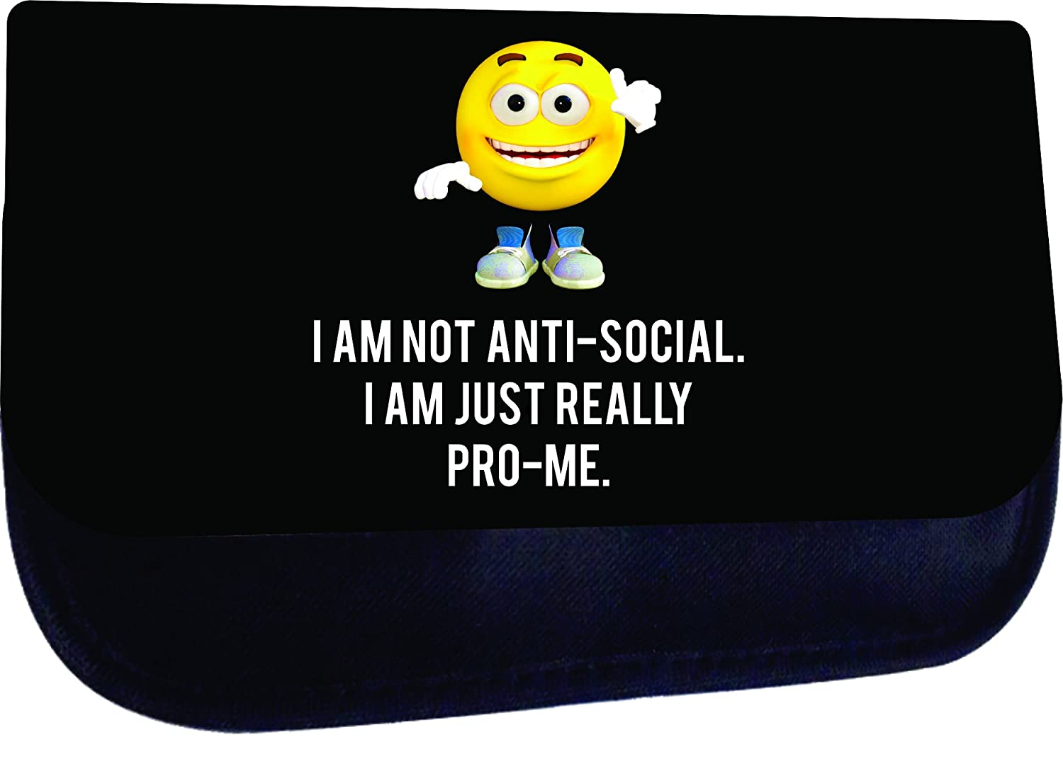 Cute Yellow Emoticon Pro Me Quote Elementary//Middle // High School Girls//Boys Large Black Multi-Purpose School Shoulder Messenger Bag and Pencil Case Set