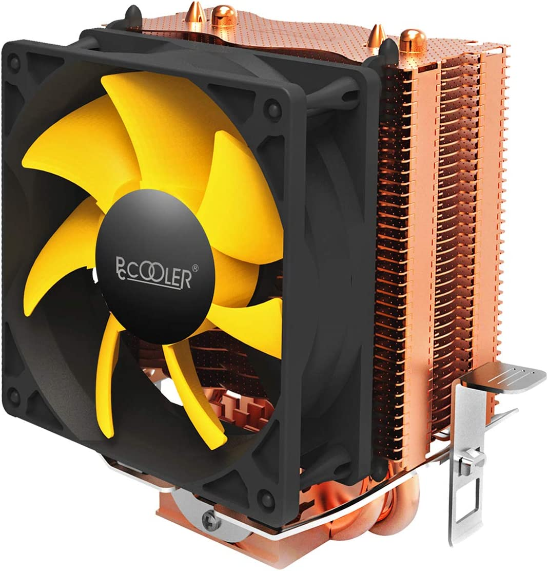 Pccooler S83 CPU Cooler - Mini CPU Heatsink - TDP 95w - Single Tower and Support Dual Fans - Copper-Colored Protective Layer - 80mm Silent Fan Suitable for Mini PC Case - Wide Compatibility