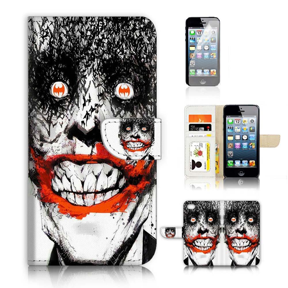 (iPhone 5 5S / iPhone SE用)フリップウォレットケースカバー&スクリーンプロテクターバンドル! A0038ジョーカー   B0746CSZ3T