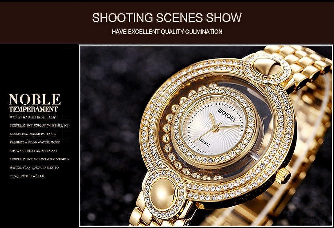9a3460570b2f Reloj Dorado Mujer Moda Baratos Pulsera De Oro-Tono Del CíRculo Diamantes   Amazon.es  Relojes