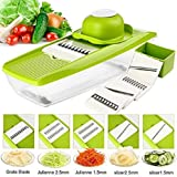 Krevia VelKro Mandoline Stainless Steel Adjustable 5 Interchangeable Blades Fruit Cutter Grater Tools (Green)