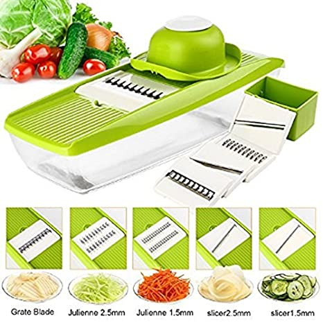 Krevia VelKro Mandoline Stainless Steel Adjustable 5 Interchangeable Blades Fruit Cutter Grater Tools (Green) Graters & Slicers at amazon
