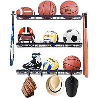 Mythinglogic Sports Equipment Storage Rack,Wall Mount Ball Rack Garage Organizer, 3 Separate Ball Storage Rack for…