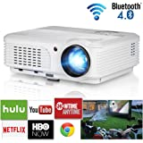 EUG 4400 Lumen 2019 Bluetooth Projector WiFi Android LCD LED Smart Video Projectors Home Theater Support HD 1080P Airplay HDMI USB RCA VGA AV for Smartphone DVD Game Consoles Laptop Outdoor Movie