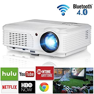 Smart WiFi Bluetooth Projector with 4400 Lumen Android 6.0 Wxga HDMI LCD Home Theater Wireless Projector for Screen Mirroring Support Full HD 1080P Bluray DVD Laptop Game Console Art Outdoor Movies
