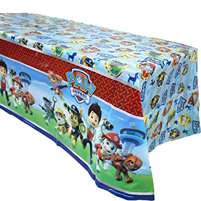 "1 pack PAW Dog Patrol Themed Birthday Party Decorations – Disposable PAW Dog Patrol Plastic Tablecloth | 71.25 x51.96 "", Disposable Table Cover 