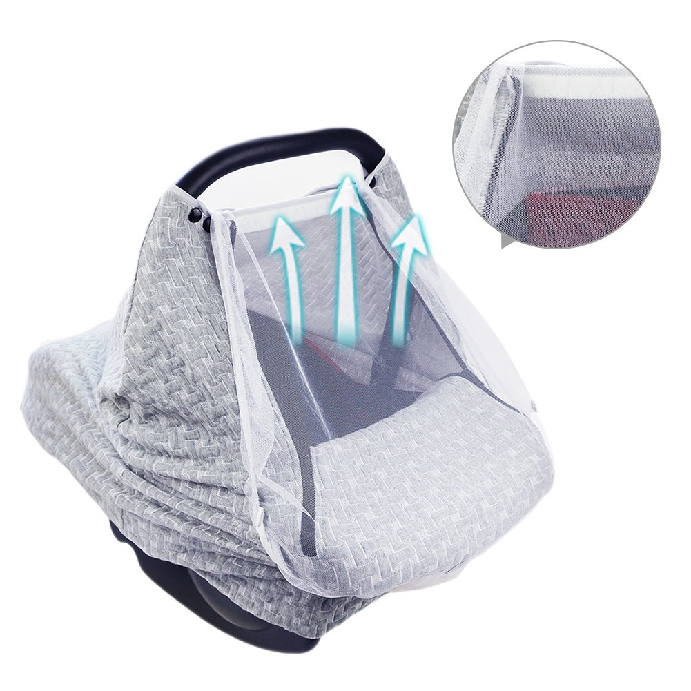 PROKTH Baby Stroller Gray Air Layer Mosquito Net, Sun Protection Sunshade Heat Insulation Cooling Polyester Cotton Cover Towel Sunshield by PROKTH (Image #3)