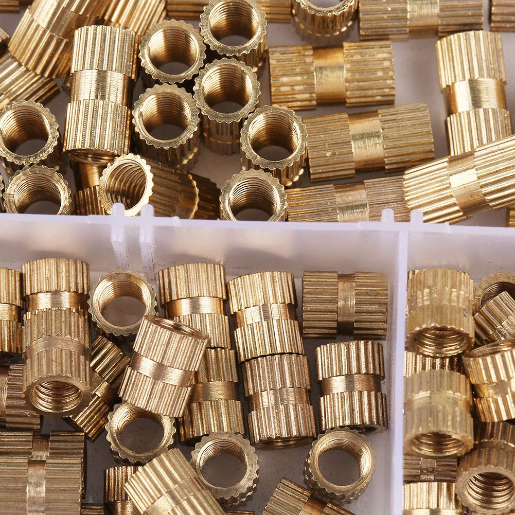 akozon Helicoil Intercalar tuercas Tuerca moleteada 150pcs M5/lat/ón cilindro Moleta tuercas embebidos Helicoil tuercas tuercas sortimentskit