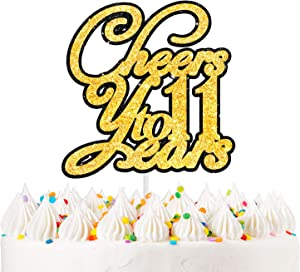 LINGPAR Cheers to 11 Years Gold Glitter Cake Topper - Happy Birthday Or Wedding Anniversary 11th Party Decor