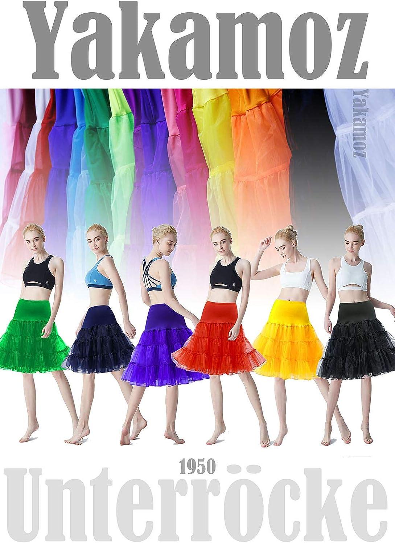 Yakamoz Unterr/öcke Petticoat Reifrock 1950 Petticoat Unterr/öcke Tutu Karneval Underskirt Crinoline f/ür Rockabilly Kleid 50er Jahre Kleid t/üllrock Skirt