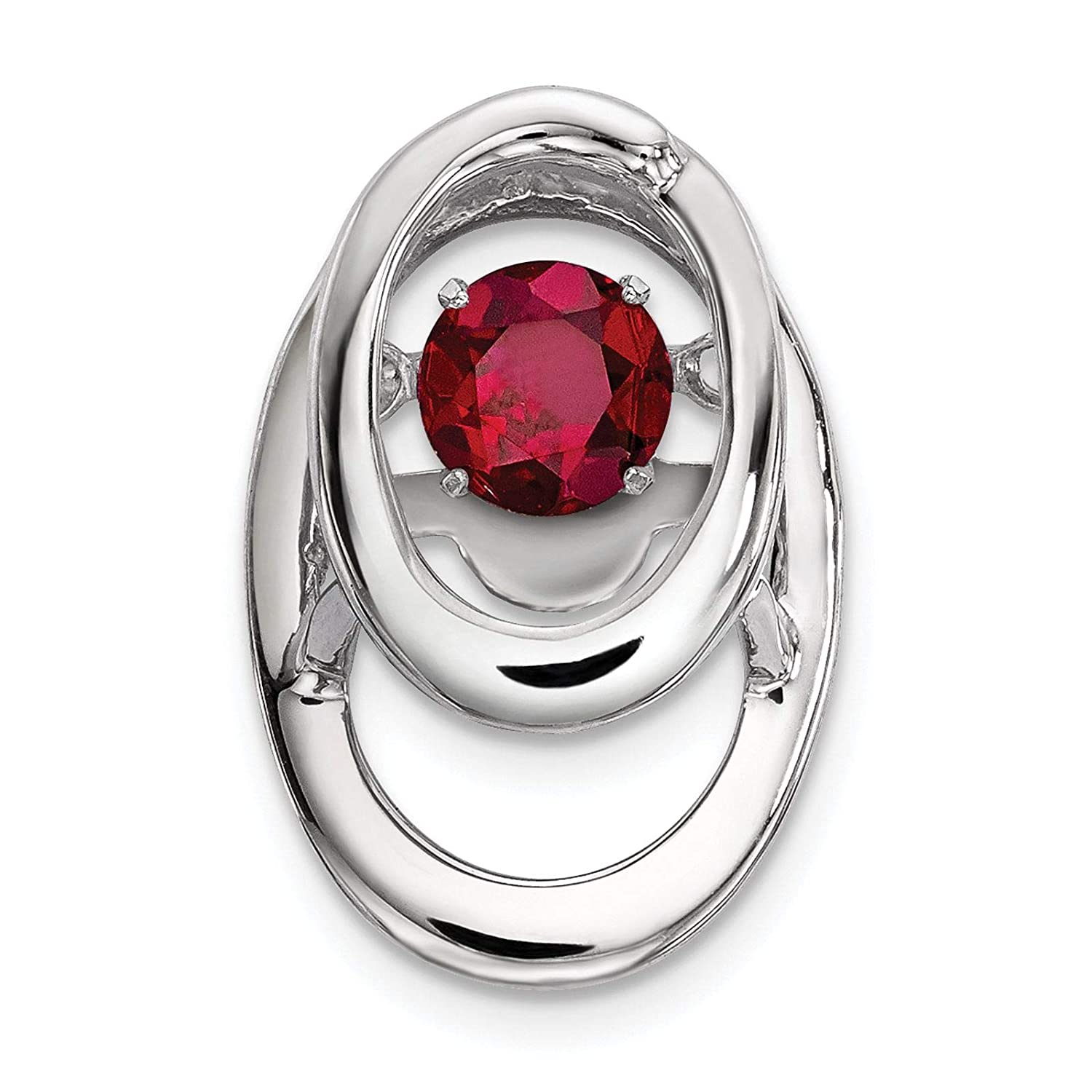 925 Sterling Silver Rhodium-plated Created Ruby July Stone Charm Pendant