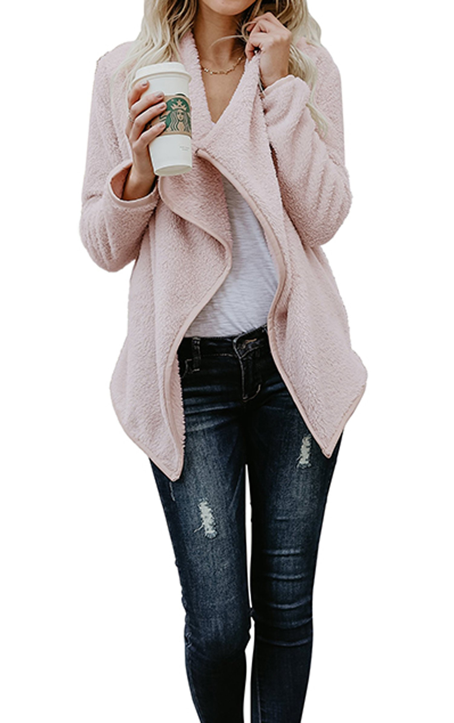 Hibluco Women's Casual Long Sleeve Faux Fur Jacket Open Front Cardigan (Pink, Medium)