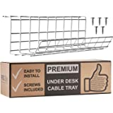 Under Desk Cable Management Tray - Cable Organizer for Wire Management. Metal Wire Cable Tray for Office and Home (White, 17)