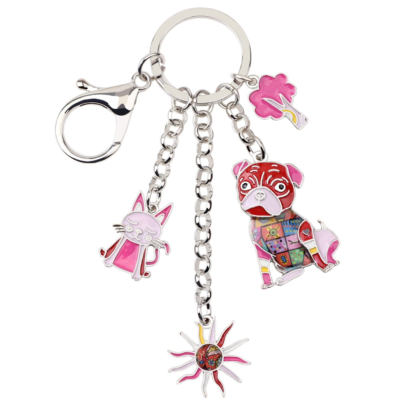 Bonsny Enamel Alloy Cat Sunflower Pug Dog Key Chains For Women Car Purse bag Charms Jewelry Gifts (Red)