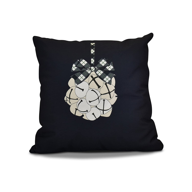 Jingle Bells Pillow E by design PHGN693BL14-18 18 x 18-inch Navy Blue 18x18,