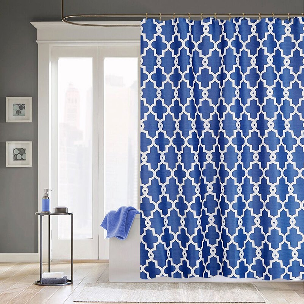Shower Curtain Set – Moroccan Geometric Pattern Bath with Hooks ...