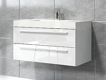 Badezimmer Badmöbel Rome 80 cm Hochglanz weiß - Unterschrank Schrank ...