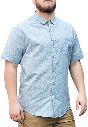 Camisas para Hombres Camisa Lisa Fina De Media Manga Camisa De Botones Camisa Floral Americana: Amazon.es: Ropa y accesorios