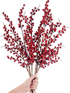 DearHouse 4 Pack Artificial Red Berry Stems Holly Christmas Berries for Festival Holiday Crafts and Home Decor, 26 Inches Burgundy Berry Floral Christmas Tree Decorations