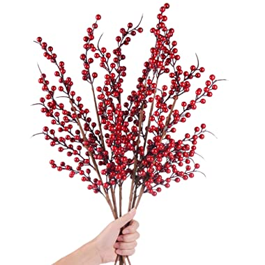 TINGOR 4 Pack Artificial Red Berry Stems for Christmas Tree Decorations, Crafts, Holiday and Home Decor, 25 Inches Burgundy Berry Floral