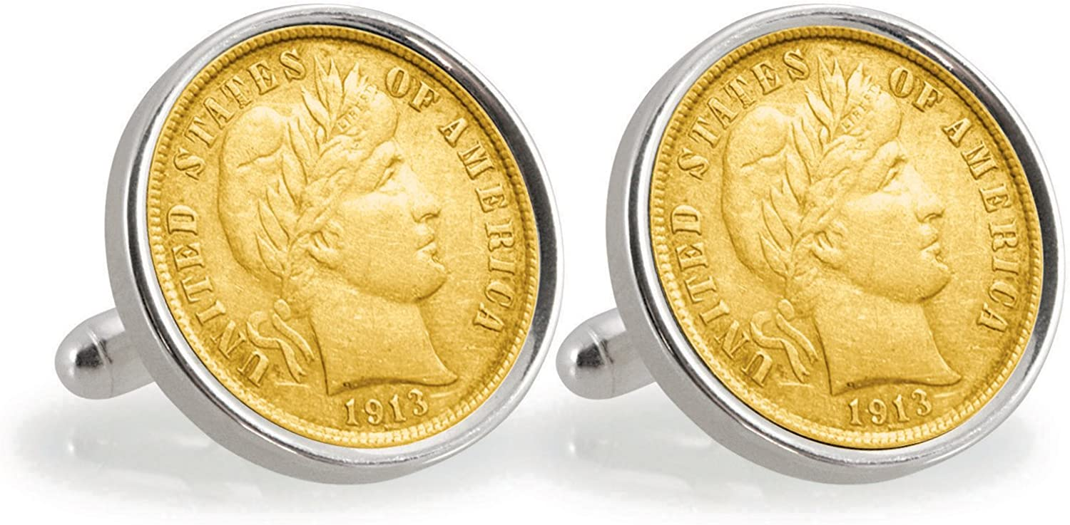 American Coin Treasures Gold-Layered Silver Barber Dime Sterling Silver Cuff Links
