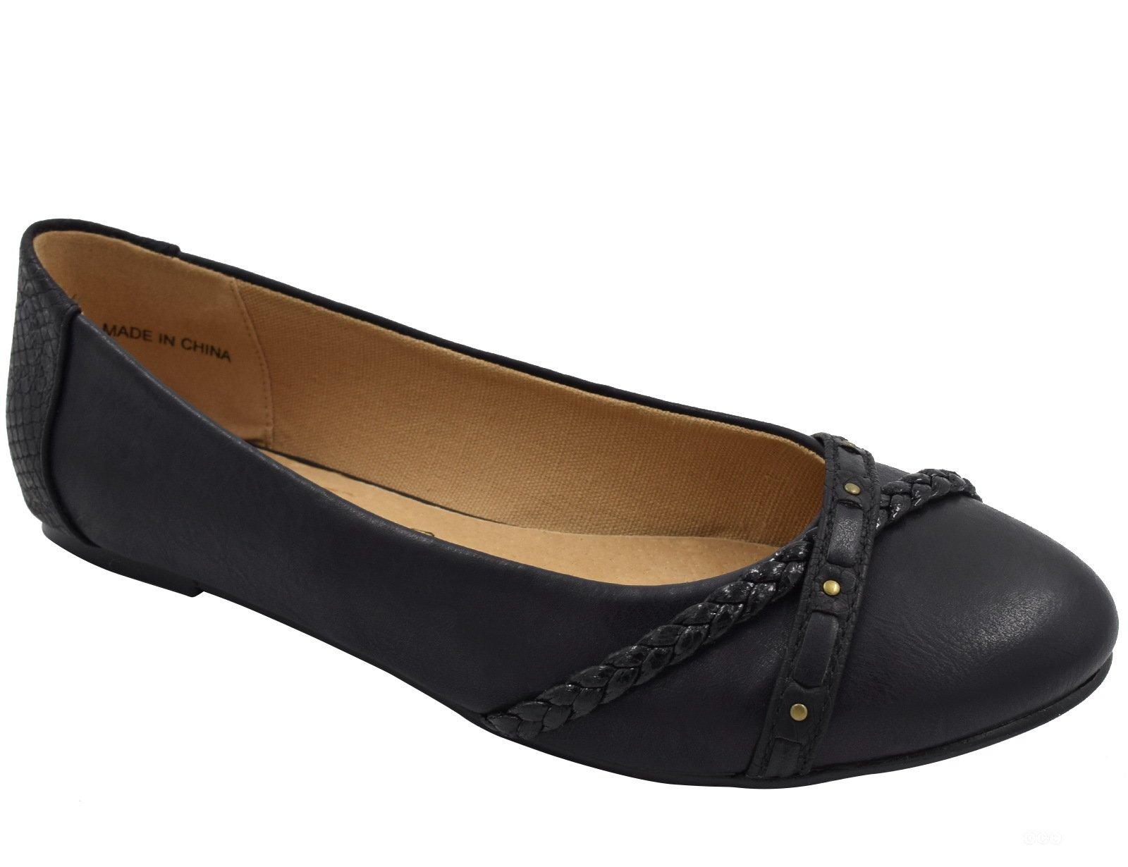 Greatonu Slip On Closed Toe Ballet Flats Black Dress Shoes Size 10