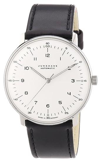 Junghans MAX BILL 027/3500.00 - Reloj de caballero automático, correa de piel color negro: Amazon.es: Relojes