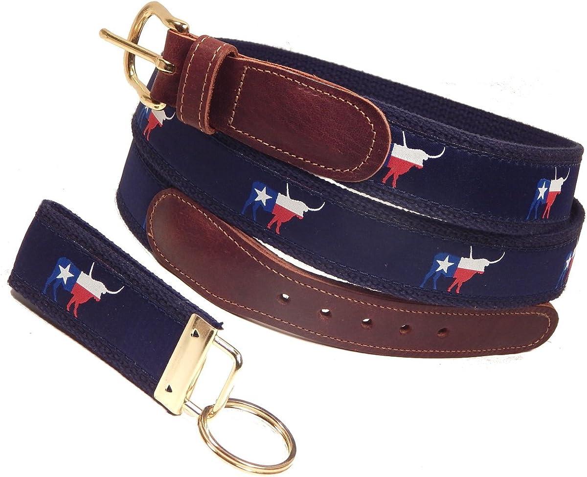 Sizes 30 to 50 FREE Matching Key Ring Navy Preston Leather Texas Longhorn Ribbon Belt