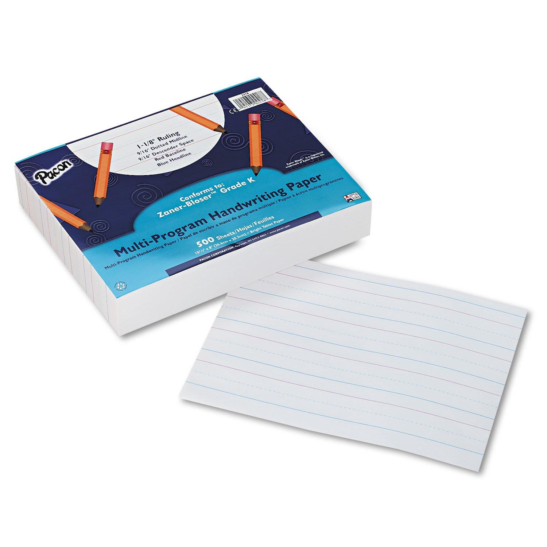 8 x 10-1//2 Pacon 2418 Multi-Program Handwriting Paper 16 lbs 500 Sheets//Pack White