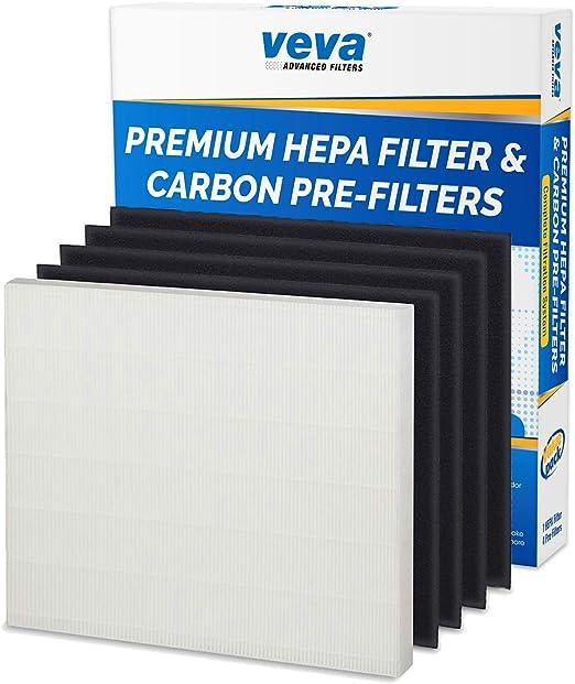 VEVA 1 Premium HEPA Filtro incluye 4 filtros de carbono Pre ...