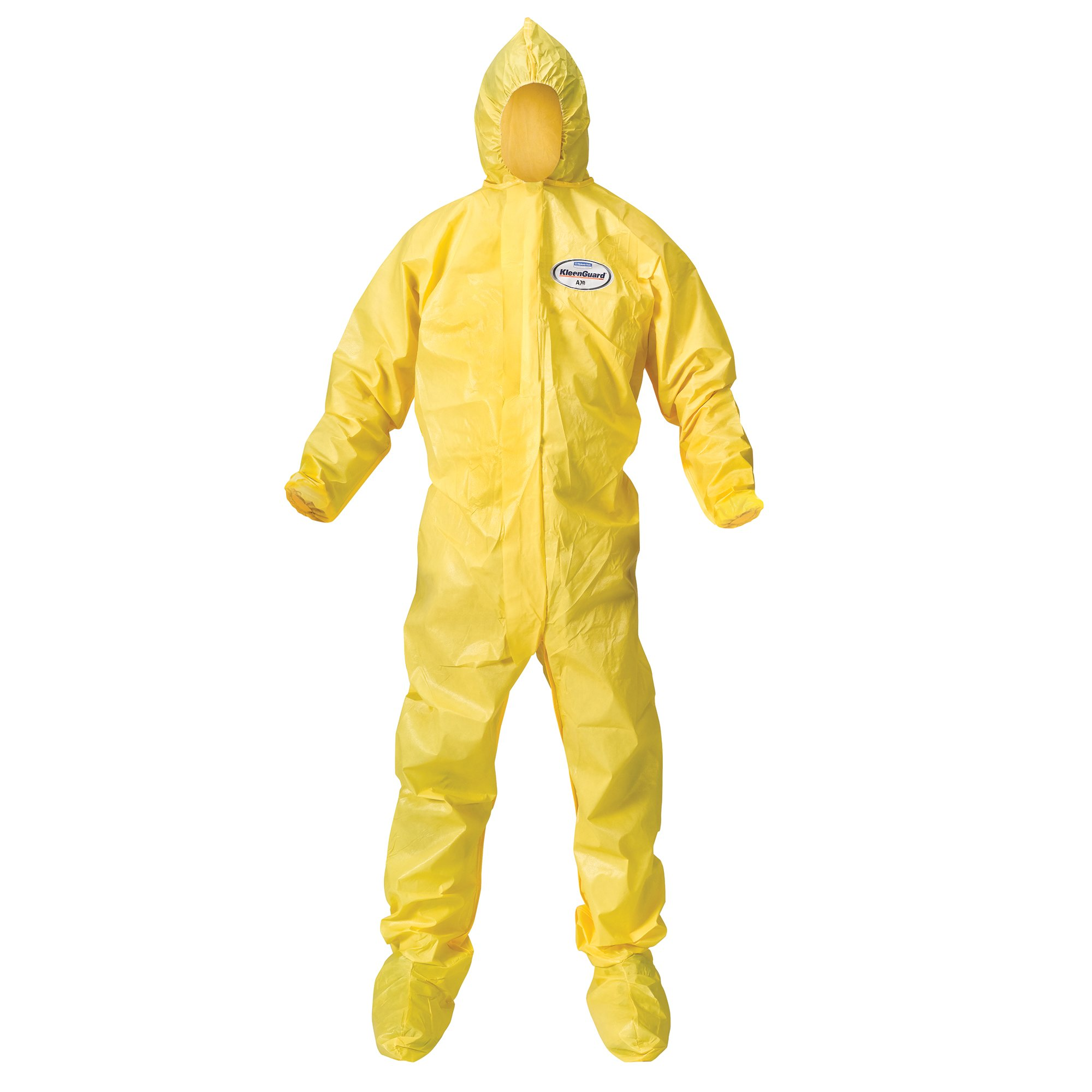 Kleenguard A70 Chemical Spray Protection Coveralls (00685) Suit, Hooded, Booted, Zip Front, Elastic Wrists, Size 2XL, Yellow, 12 Garments / Case