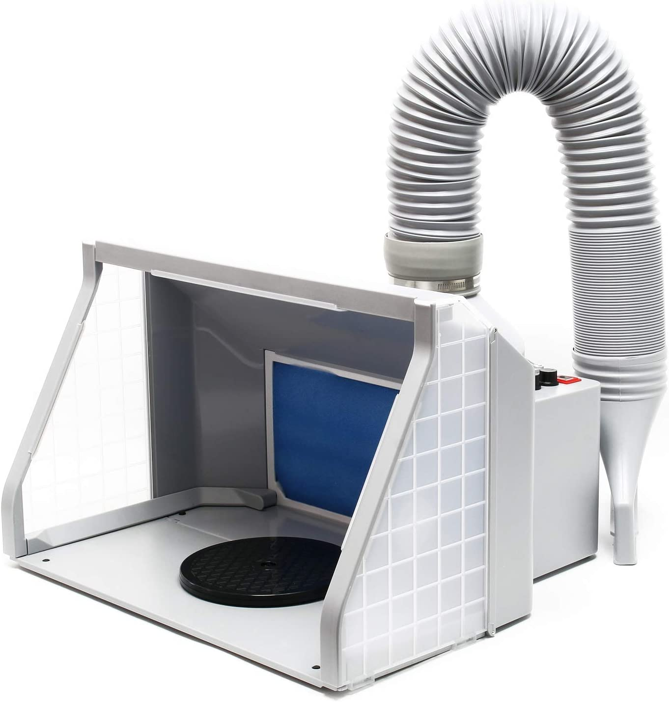 WilTec Equipo Extractor aerografía 9m³/min Iluminación LED Ventilador Doble Regulable Cabina de Pintura