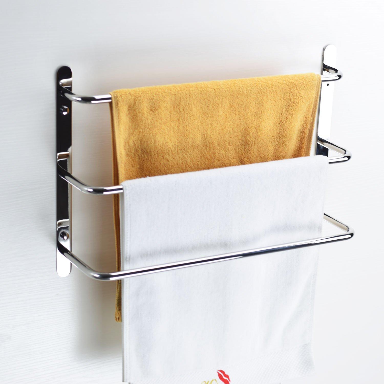 Turs SUS304 Stainless Steel Bath Towel Rack Towel Shelf 3 Tiers Towel Bars Wall Mounted,Polished Finish