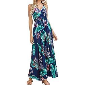34c830b39c HUSKARY Womens Sleeveless V Neck Spaghetti Strap Pockets Floral Print Beach  Boho Tropical Summer Maxi Dress