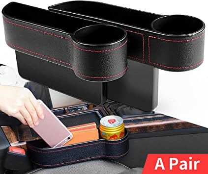 Red 2 Packs Car Seat Gap Filler PU Car Seat Organizer with Cup Holder Car Console Side Organizer for Cellphone,Wallet Various Cards Cup Holder