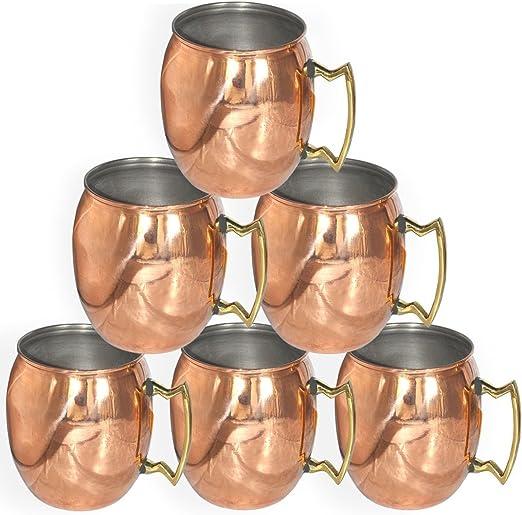 asiacraft Cobre Puro tazas para Moscú Mules – (16-Ounce/Juego de 6, suave, níquel con acabado lacado)- – Aprobado por la FDA: Amazon.es: Hogar