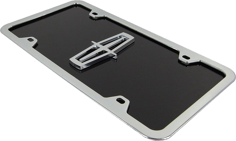Lincoln Chrome Logo On Black License Plate Frame